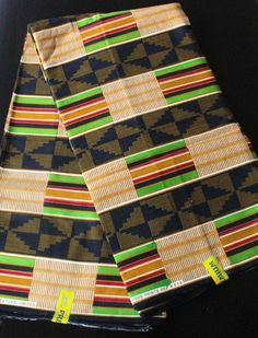 african print kente fabric Black, green and brown sold per metre /african fashion / african fabric / african dress/ african skirt by BoSSiPrints on Etsy African Skirt, African Wear, African Fashion, Textile Patterns, Textile Design, Clothing Patterns, African Textiles, African Fabric, Wax Lyrical