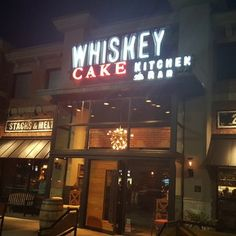Whiskey Cake - Plano, TX, United States. Storefront on a steamy June night in Plano.