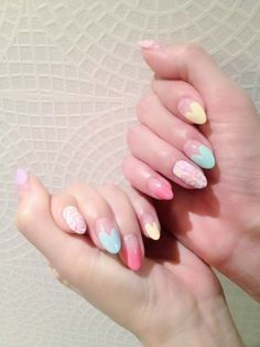 sweet heart shaped french tips in pastel and tweed