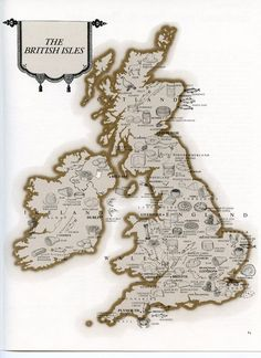 British Isles Map - Vintage Food Picture Map - Ireland Scotland England Wales