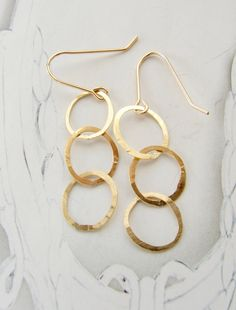 Simple gold earrings bridesmaid jewelry gold by soradesigns, $20.00
