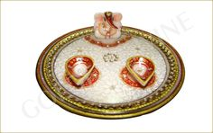 Marble Pooja thaali with Ganesha Statues