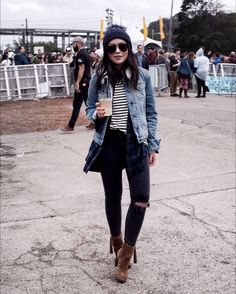 Fall Outfit Idea (Treasure Island Music Festival): stripes, beanie, Frye tassel boots