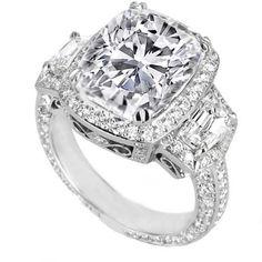 halo elongated cushion engagement ring | Cushion Diamond Vintage Design Halo Engagement Ring ... | Sparklies