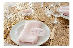 Glitter, gold and pink party decor