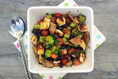 """Fattoush is a delicious Lebanese salad made from fresh Summer vegetables and pita bread. In this version I have added grilled halloumi and left out the sumac. This vegetarian Grilled Halloumi """"Fattoush"""" Saladmakes a healthy and quick lunch. Serve it when the halloumi is still warm."""