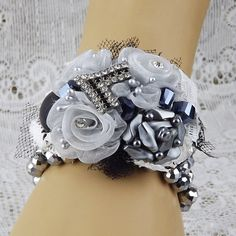 Pewter,Silver Black Fabric Flowers & Jewelry Wrist Corsage,Weddings,Prom Flowers,Dances,Unique Corsage,Keepsake Flowers and Glitz Corsage,