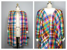 GEOFFREY BEENE Sequined Swing Coat / Bright Multicolored Silk Gold Sequin Embellished Long Quilted Couture Jacket .. Museum Quality !!!