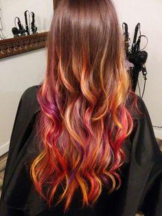 Sunset hair. Long hair. Rainbow hair. Mermaid hair. Joico. Ombre. Unicorn. Trendy. Healthy.