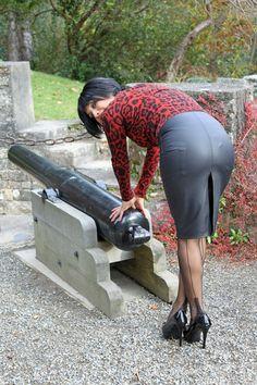 Garter Bumps Under Tight Leather Pencil Skirt