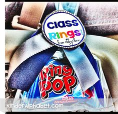 Easy Class Ring favor made with Ring Pops for Preschool grads!