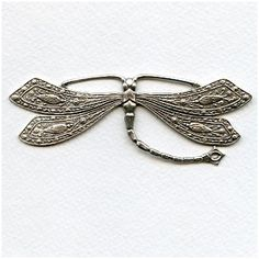Vintage Rare Huge Oxidized Silver Dragonfly Stamping (1) More rare oxidized silver pieces will be listed today!