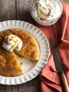 Candied ginger adds unique flavor to this Maple Upside-Down Cake. More fall cakes: http://www.bhg.com/recipes/desserts/cakes/fall-cake-recipes/?socsrc=bhgpin102812maplecake#page=10