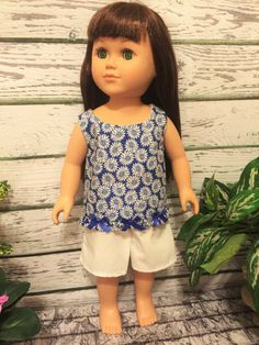 18 Doll Clothes Blue and White Short Set by sassydollcreations