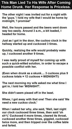 This Man Lied To His Wife After Coming Home Drunk Her Response Is Priceless funny jokes story lol funny quote funny quotes funny sayings joke humor stories hilarious funny jokes