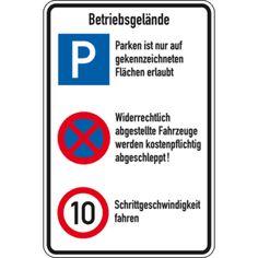 Betriebsgeländeschild, mit 3 Verkehrszeichen, Aluminium, 600 x 900mm Bild 1