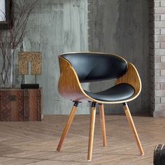 Corvus Peyton Mid-century Walnut and Black Plywood Accent Chair
