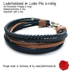 Lederhalsband 6-reihig für große Hunde