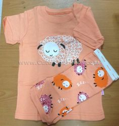 ชุดนอน Baby Gap - ชุดนอนแขนสั้น ขาสั้นสีส้มอ่อน ลูกแกะ เหลือ 4ปี*