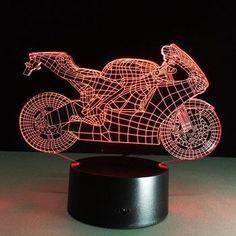 Yeduo 3D Table Lamp Motorcyclenight Lights Led Decorative Lampara Plexiglas  Plate Lumineuse Bedside Nightlight Colores Bulbing bca758f8eb75