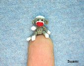 Miniature Sock Monkey With Hat - Micro Thread Crochet Animals - 1 Inch Scale Grey Sock Monkey - Made to Order. $52.00, via Etsy.