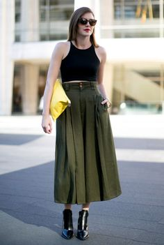 A retro kakhi and black look. This look is one of the reasons we love NYFW.