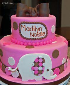 Pink, White and Brown Polka Dot Elephant Cake (Madilyn Noelle)