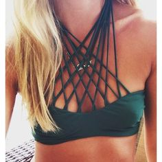 shop her look —> mikoh kahala cross over bikini top | bjoux nameplate necklace