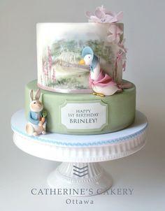 Catherine's Cakery Ottawa: beautiful Beatrix Potter cake with Peter Rabbit and Jemima Puddleduck