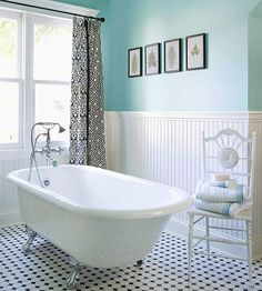 Give a bath a vintage vibe with a clawfoot tub and black and white tile. More fresh ideas for bathroom floors: http://www.bhg.com/bathroom/flooring/fresh-ideas-for-bathroom-floors/?socsrc=bhgpin052713vintageBWtile=6