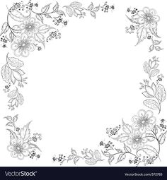 Flower background contours vector image on VectorStock Pillow Embroidery, Embroidery Fonts, Hand Embroidery Patterns, Embroidery Designs, Background Drawing, Background Patterns, Adobe Illustrator, Cartoon Butterfly, Contour Drawing