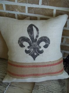 French Fleur De Lis Pillow in Cream Burlap by SimplyFrenchMarket, $32.00
