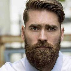 Long Undercut with Side Swept Hair and Beard