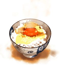 r japanese raw egg over rice No Cook Desserts, No Cook Meals, Chibi Food, Food Sketch, Food Painting, Food Icons, Kitchen Prints, Food Journal, Food Drawing