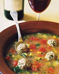 Mexican meatball soup with zucchini, corn and tomatoes. Can use frozen meatballs to make this super easy.