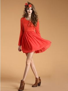 #fall #winter #dresses #dress  LIKE IT OR NOT?// Long Sleeves Round Neckline Red Waisted Skirt Dress