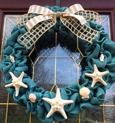 Summer Beach Teal Burlap Wreath with by TheCraftyChicShoppe, $45.00