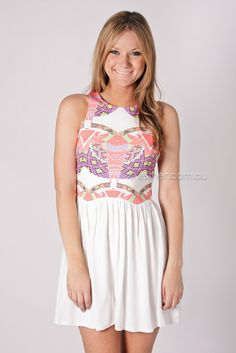 Esther Boutique - yolo playsuit - white/coral