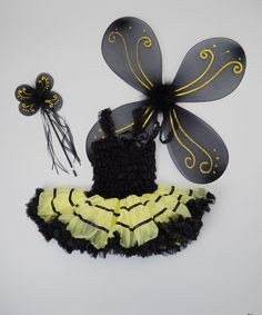 This Black & Yellow Bee Tutu Dress-Up Set - Girls by TUTU COUTURE is perfect! #zulilyfinds