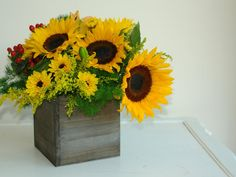 medium wood box woodland planter flower box rustic pot vases wedding wooden boxes rustic wedding sun flowers bouquet arrangement centerpiece on Etsy, $14.95