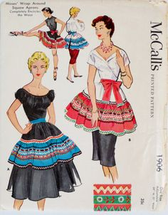 1950s Aprons Pattern Wrap Around Squaw Apron One Size by linbot1, $12.00