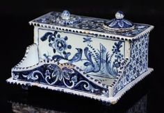 From our extensive and fine collection of inkwells we are delighted to offer this stylish Dutch Delft inkwell and desk stand dating from between 1680 and. Blue And White China, Blue China, Love Blue, Delft, Art Nouveau, Blue Onion, Fountain Pen Ink, Antiques For Sale, Hand Art