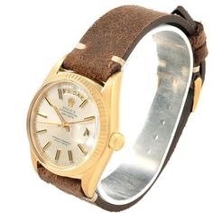 17838 Rolex President Day-Date 18k Yellow Gold Silver Dial Mens Watch 1803 SwissWatchExpo