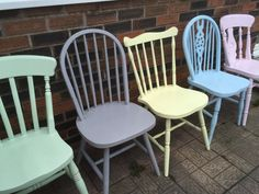 A set of 5 five beautiful mix and match custom painted to the colour of your choice wooden country kitchen / dining chairs. These chairs have