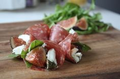 Geona Salami Cones from Carnivore Club  Ingredients: 6 Geona Salami Slices 2 figs 2 tbsp Goat Cheese  Baby Arugula   Directions Cut the Salami from the center to the end and roll the Salami slice into itself to form a cone. Add Figs, Cheese and Arugula into the cone.