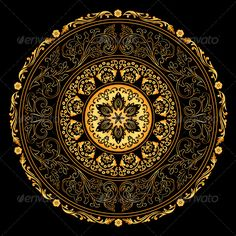 Illustration about Decorative gold frame with vintage round patterns on black. Illustration of indian, ornament, creative - 28911310 Mandala Pattern, Mandala Design, Stencil, Mandala Artwork, Geometry Art, Greek Art, Background Patterns, Art Background, Vector Background