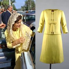 First Lady Jackie Kennedy leaves church in Palm Beach, Florida on January 1, 1963. Jackie is wearing a yellow suit designed by Oleg Cassini. She also wore this during a state visit to Mexico.