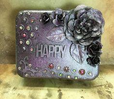 Dark Mixed Media repurposed tin box Purple floral by MontanaMagic