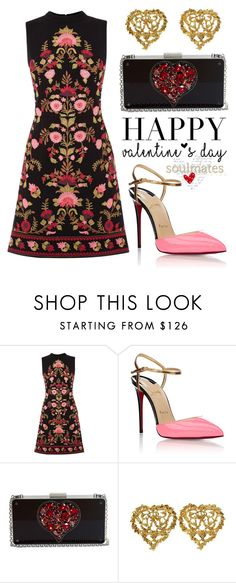"""Happy Valentine's"" by boxthoughts ❤ liked on Polyvore featuring Oasis, Christian Louboutin, Lanvin, Yves Saint Laurent, women's clothing, women, female, woman, misses and juniors"