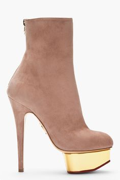 da176358040 CHARLOTTE OLYMPIA Taupe suede platform Lucinda Ankle Boots Shoes Heels  Wedges